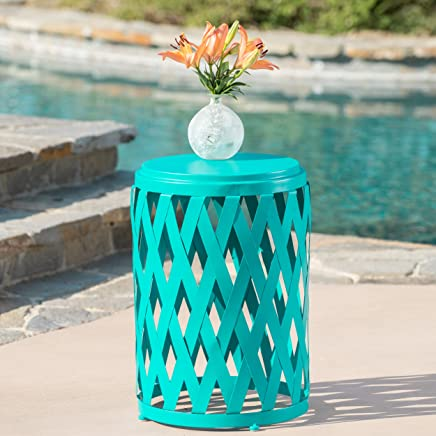 Christopher Knight Home 302112 Selen Ckh Outdoor Accent Tables, Matte Teal