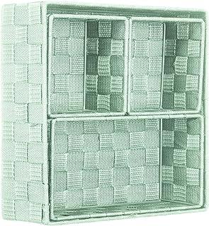 Brandsseller Lot de 4 boîtes de rangement décoratives - Aspect rotin / tressé - Menthe