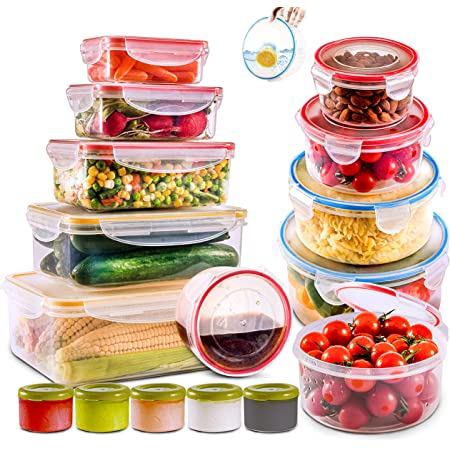 28 PCs Large Food Storage Containers with Airtight Lids-Freezer & Microwave Safe,Storage Bowls & Kitchen sets-BPA Free Plastic Meal Prep Containers-Leak proof Lunch Containers,Sauces & Bento box
