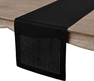 Solino Home Hemstitch Linen Table Runner - 14 x 72 Inch, Handcrafted from European Flax, Machine Washable Classic Hemstitch - Black