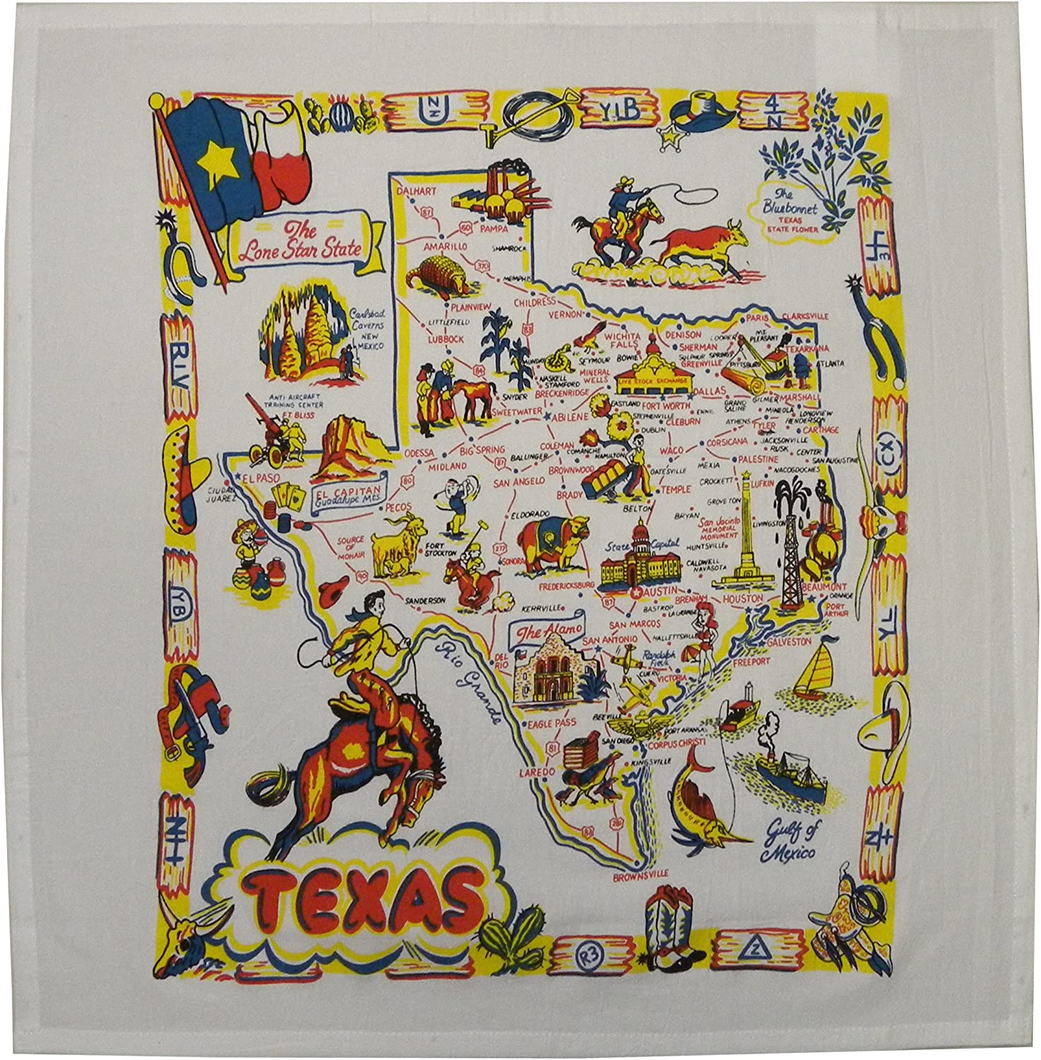 Tablecraft Products Co. Texas State Map i Souvenir Cheap sale 22 Dish Towel Max 89% OFF