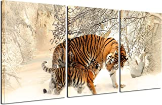 Gardenia Art - Animal Canvas Prints Tigers Wall Art Paintings Running Horse Pictures Artworks for Bedroom Living Room Decoration,16x24 inch/Piece, Framed, 3 Panels