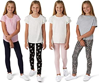 VIGOSS 4 Pack Leggings for Girls | Soft Stretch Cotton and Stylish, Solid Colors and Patterns