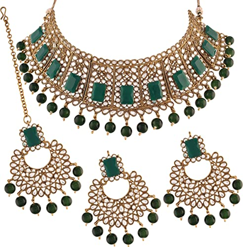 Traditional Gold Plated Beads Kundan Choker Necklace Set With Maang Tikka For Women ML232G