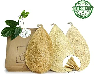 Natural Dish Scrubber Pack 3 Vegetable Sponge for Kitchen 100% Loofah Plant Cellulose Scouring Pad Biodegradable Compostable Dishwashing Zero Waste Product Luffa Loofa Loufa Lufa