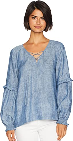 Lila Lace-Up Ruffle Sleeve Blouse
