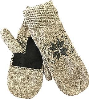 Mens Ragg Wool Mitten With Suede Gripper Palm & Fleece Lined Insulation