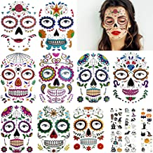 15 Sheets Sugar Skull Day of The Dead Face Tattoos Skeleton Face Tattoo and Glow in The Dark Halloween Temporary Face Tattoos