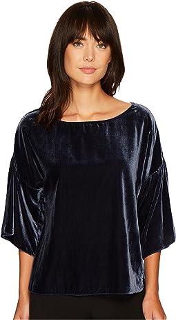 Drop Shoulder Ruffle Sleeve Drapey Velvet Blouse