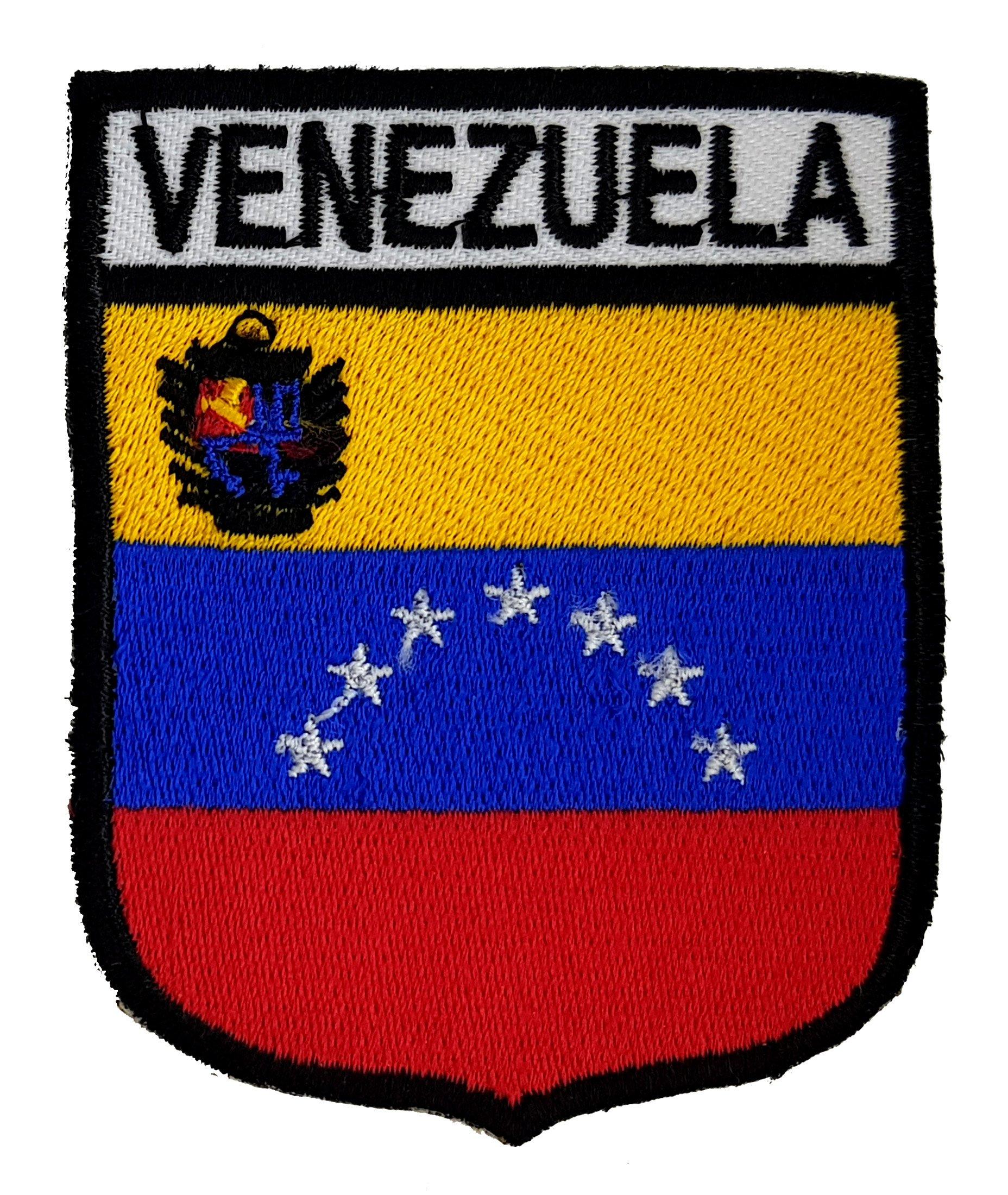 VENEZUELA - Parche de bandera de 7 estrellas con escudo bordado para planchar o coser, diseño de