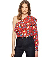 The Kooples - Asymmetrical Crepe Viscose Top with A Wild Roses Print