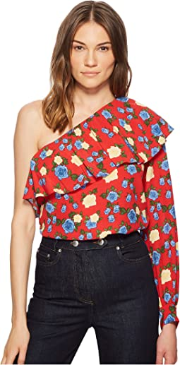 Asymmetrical Crepe Viscose Top with A Wild Roses Print