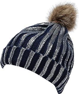 Jugofar Winter Chunky Knit Party Metallic Shiny Beanie Skull Pom Pom Hats Cap