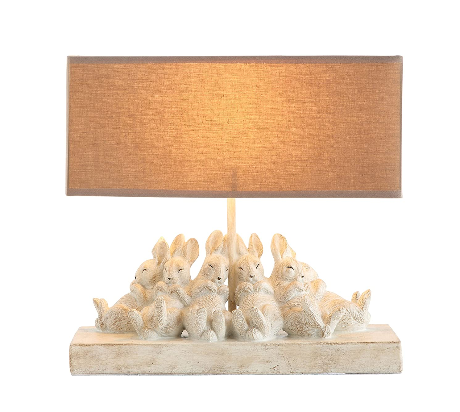 Creative Co-op Whitewashed Rabbit Table Lamp with Sand-Colored Linen Shade, 14