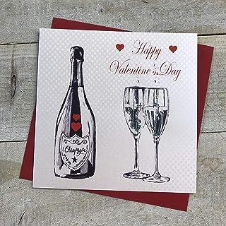 white cotton cards Happy, Handmade Valentine's Day Card (Code VLS36)