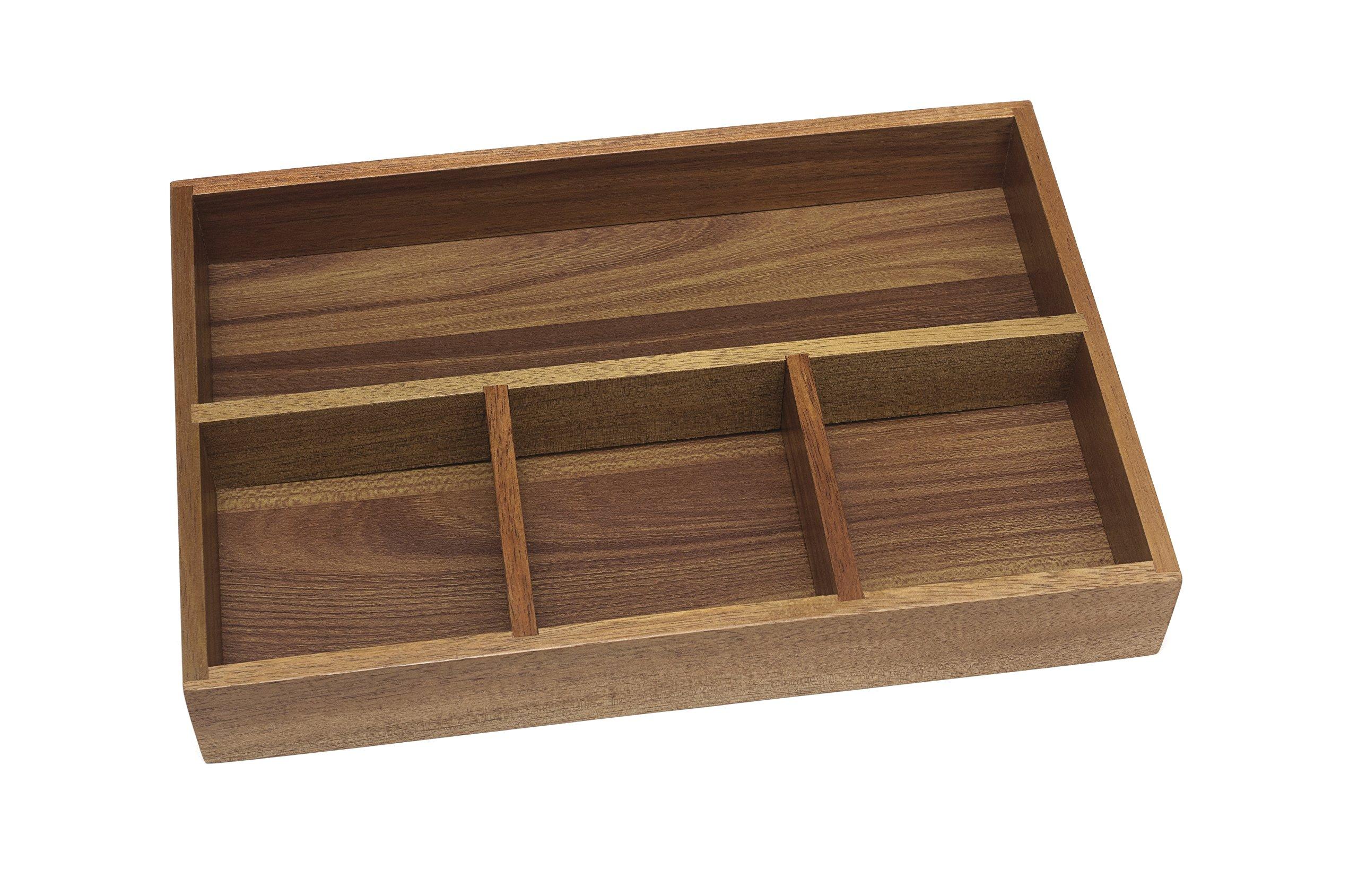 Lipper International 1124 Acacia Organizer Tray 4-Compartments 12 x 8 x 1 3//4