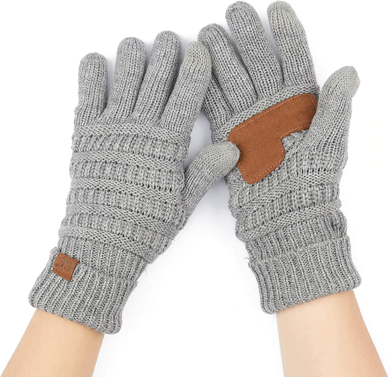 C.C Unisex Knit Thick Warm Soft Stretch Fuzzy Lined Solid Ribbed Glove with Smart Tips (G-25)(G-707)