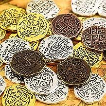 35 Piezas Monedas Piratas de Metal Doblón Español Réplicas Juguetes Moneda del Tesoro Pirata para Decoración de Favores de Fiesta, Bronce, Bronce Antiguo Rojo, Oro Antiguo y Plata Antigua