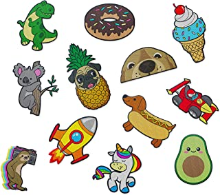 Cute Iron On Patches for Kids - by The Carefree Bee   Set of 12 Sewable Embroidery Patches   Small Fun Iron On Patches for...
