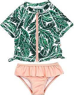 SwimZip Girl 2 Piece Short Sleeve Rash Guard Swimsuit UPF 50+ (Multiple Colors)