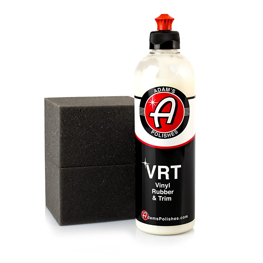 Adam's VRT Tire & Trim Dressing - Durable UV 35 Protection and Water Repellent - Leaves a Crisp Freshly Detailed Look - Dress Your Tires or Trim Without Worry of Slinging (16 oz & 2 Block Applicators)