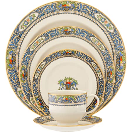 Lenox Autumn Gold Banded Fine China 5 Piece Place Setting Service For 1 Lenox Autumn China Dinnerware Sets