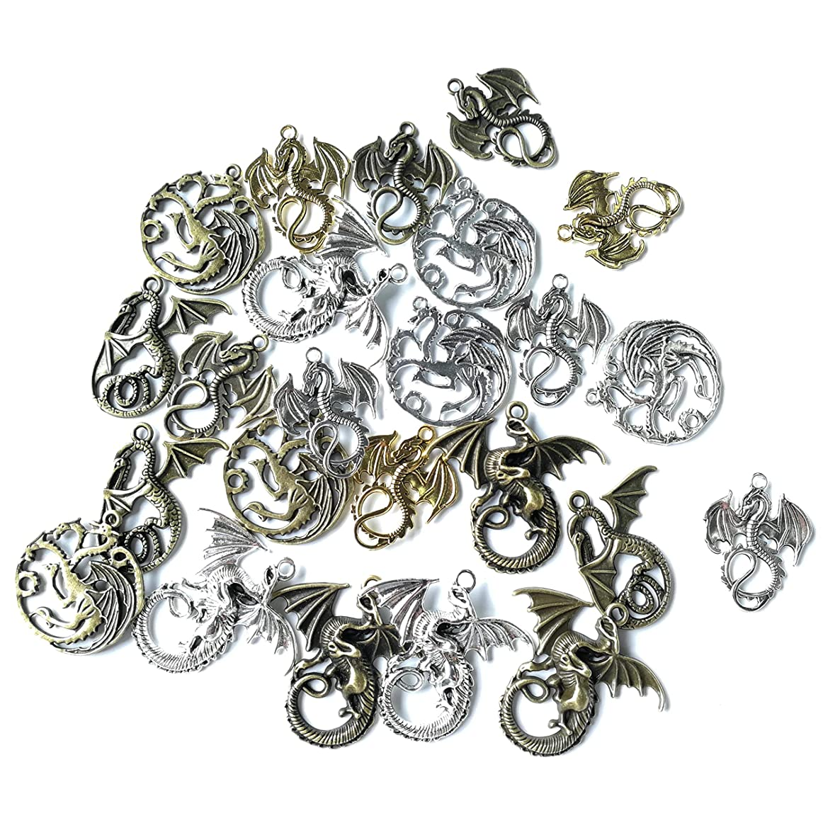 Sumje 24pcs Craft Supplies Mixed Flying Dragon Charms Pendants Beads Charms Pendants for Crafting, Jewelry Findings Making Accessory for DIY Necklace Bracelet (Dragon Style)