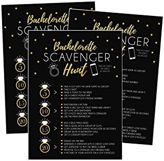 25 Bachelorette Scavenger Hunt Party Games, Drinking Game and Dares, Fun Novelty Cards for Girls Night Out