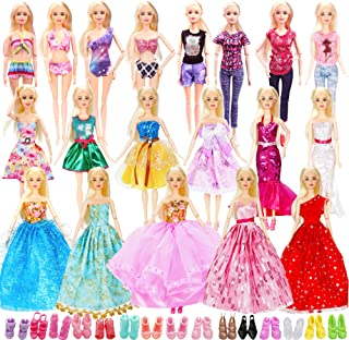 39 Doll Clothes and Accessories Include 3 Princess Dresses 1 Mermaid Dress 5 Fashion Dresses 10 Slip Dresses 2 Tops Pants ...