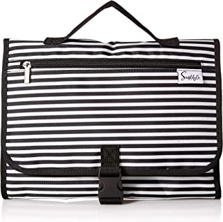 Simplily Co. Hanging Stackable Travel Toiletry Make-up Undergarments Tiddy Organizer Roll-up Bag (B&W Stripes)