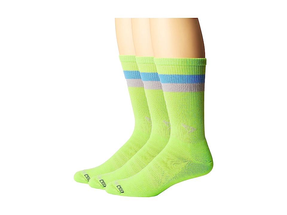 Drymax Sport Run Lite-Mesh Crew 3-Pack (Sublime/Big Sky Blue/Gray Stripes) Crew Cut Socks Shoes