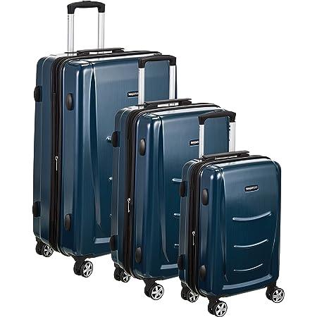 Amazon Basics Valise rigide à roulettes pivotantes, Lot de 3valises (55 cm, 68 cm, 78 cm), Bleu marine