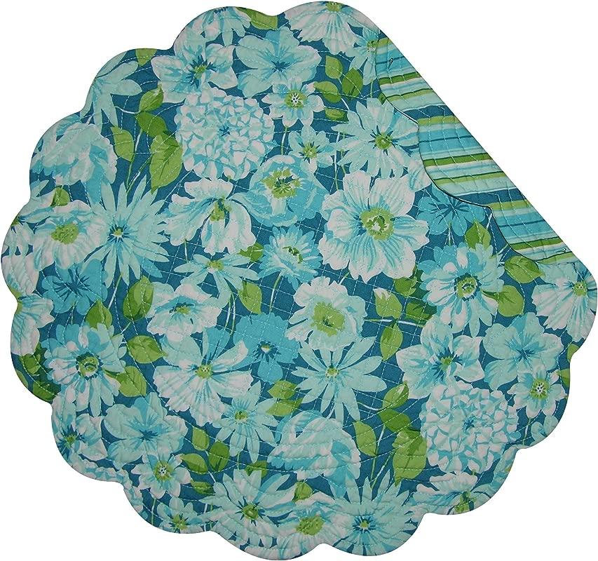 C F Home Sanibel Round Single Cotton Reversible Machine Washable Placemat Round Placemat Blue