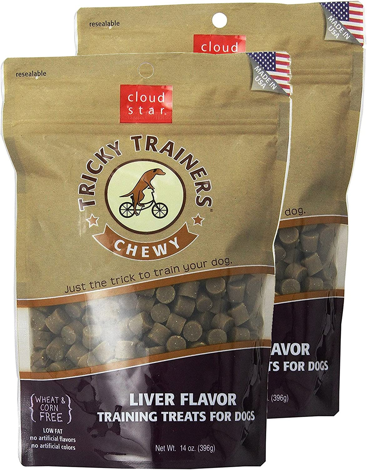 Cloud Star Chewy Tricky Trainers Liver Flavor Training Treats for Dogs (2 Pack) 14 oz Each