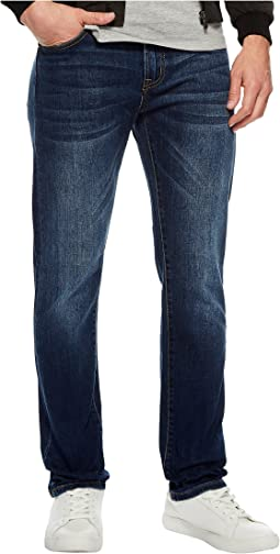 Slim Straight Stretch Denim Jeans in Marina Dark