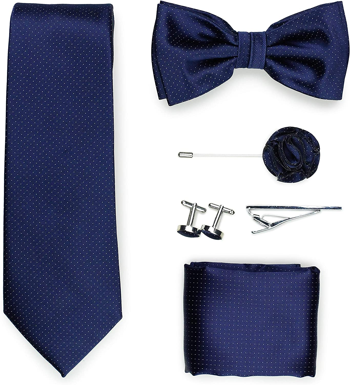 Bows-N-Ties Pin Dot Designer Tie Set 6pc Set of Pin Dot Necktie, Bow Tie, Pocket Square, Tie Bar, Lapel Pin, Cufflinks