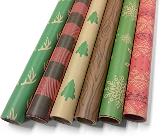 Kraft Christmas Wrapping Paper Bundle Set - Craft Minimalist Rustic Look - 6 Rolls, Multiple Patterns - Great for Crafts, Holiday, Birthday, Special Occasion Gifts - 30