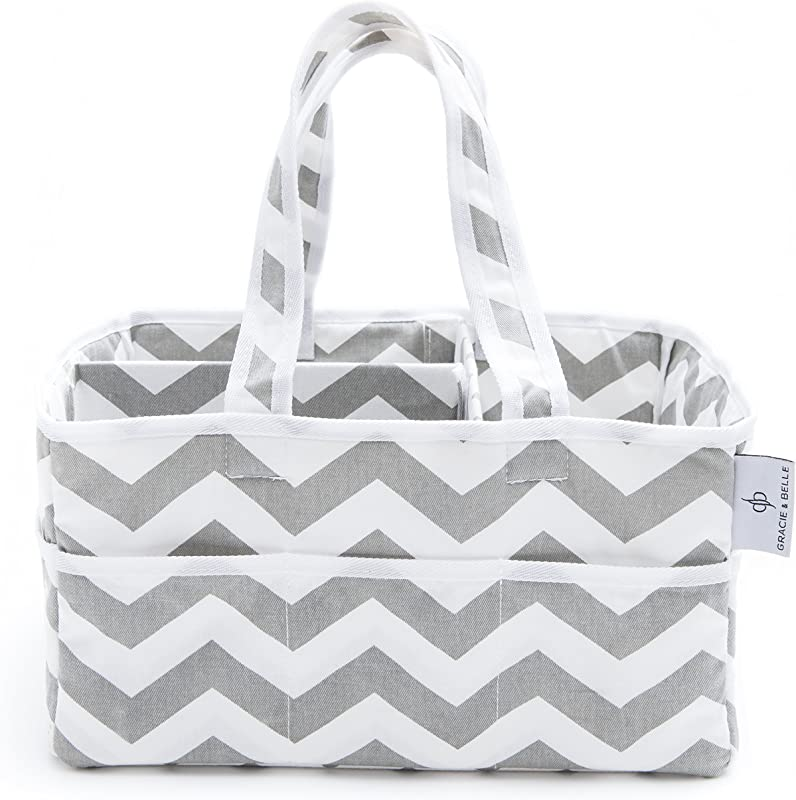 Strong Washable Baby Diaper Caddy 100 Cotton Canvas Portable Gray And White Chevron Nursery Storage Bin And Car Organizer By Gracie And Belle Gray Chevron