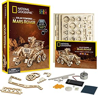 NATIONAL GEOGRAPHIC Wooden Model Kit - DIY Solar-Powered Car Includes One 3D Puzzle to Build A Mars Rover, Great Stem Toy for Girls & Boys Interested in Outer Space & Engineering