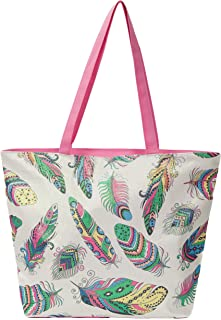 "Leisureland Glitter Tote Bag, Travel Tote Bag, Water Resistant Beach Bag (L17""xH13""xW4"", Glitter Feathers)"