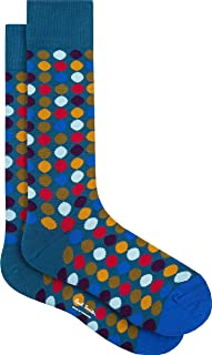 "PAUL SMITH ""Daley Polka"" Mens Cotton One Size Socks Blue with Mustard Green Coral Dots"