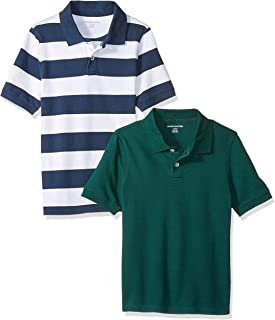 Amazon Essentials Boys' Short-Sleeve Uniform Pique Polo
