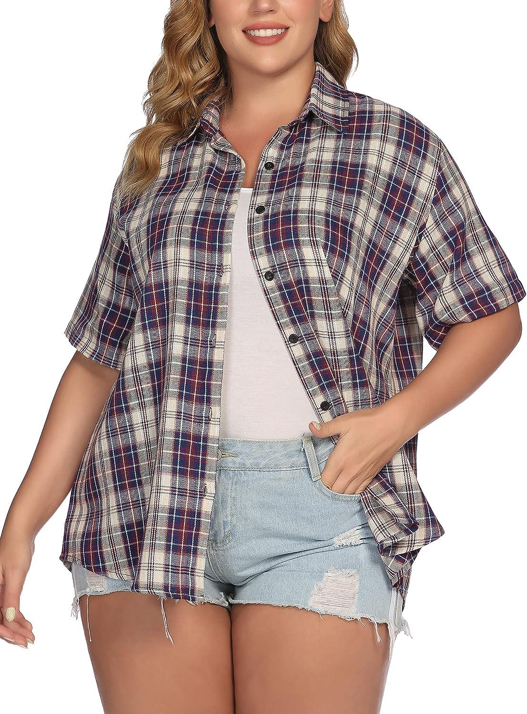 IN'VOLAND Womens Plus Size Plaid Shirt Short Sleeve Button Down Tops Casual Boyfriend Shirts