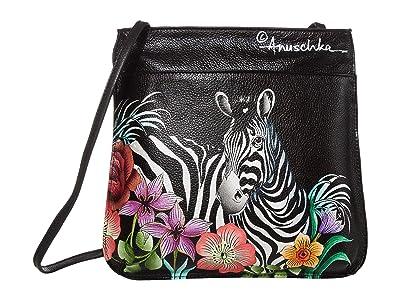 Anuschka Handbags Mini X-Body 452 (Playful Zebras) Cross Body Handbags