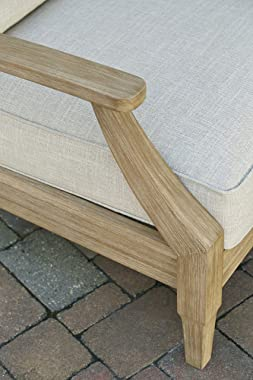 Signature Design by Ashley Clare View Outdoor Eucalyptus Patio Lounge Chair, Natural Beige