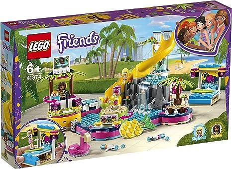 LEGO Friends - Fiesta en la Piscina de Andrea Nuevo set de construcción con Tobogán de Juguete, Catarata y Puesto de DJ (41374)