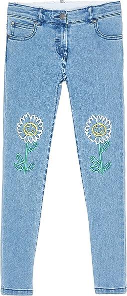 Skinny Denim with Flower Embroidery (Toddler/Little Kids/Big Kids)