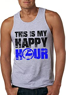 This is My Happy Hour Tank Top Funny Fitness Workout Drinking Sleeveless Tee