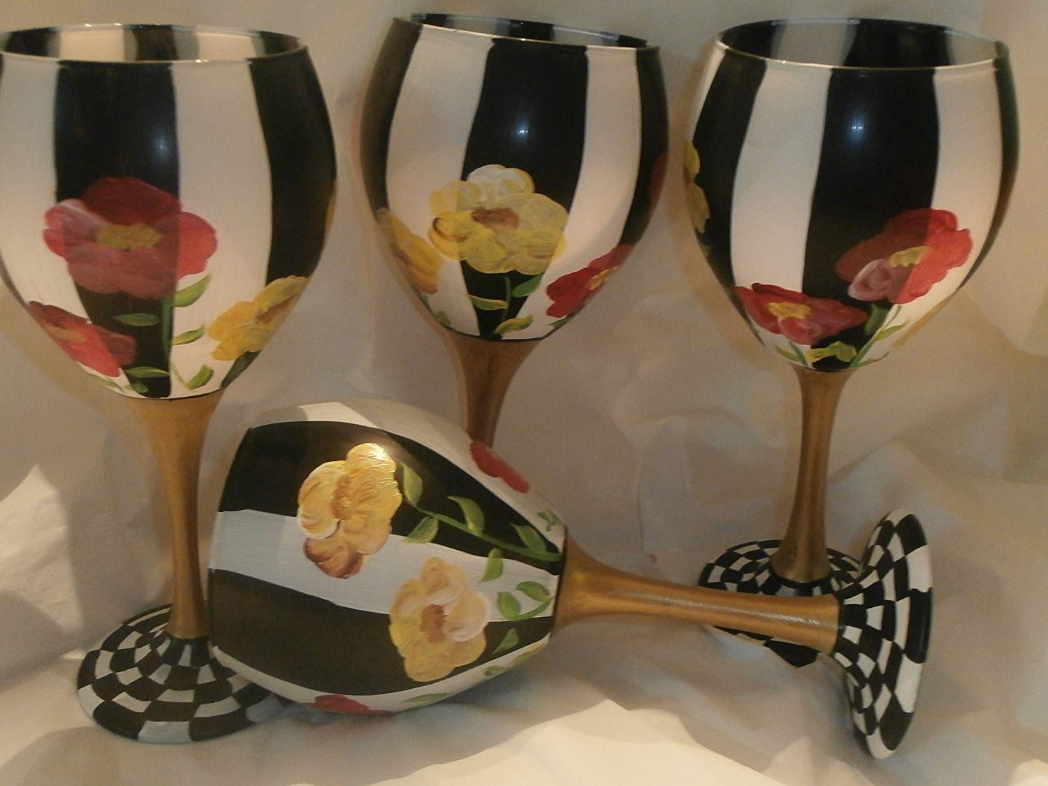 Hand painted Red and Yellow poppies. Time sale Daily bargain sale black whit with Painted