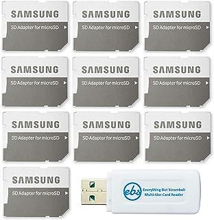 محول بطاقة ذاكرة ميكرو إلى إس دي من سامسونج (عبوة من 10 قطع) مع (1) كل شيء ولكن قارئ بطاقة ذاكرة ميكرو وSD من سترومبولي